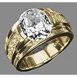 خاتم للجنسين مطلي ذهبي مرصع بحجر زركون نقي مقاس أمريكي 8.5
