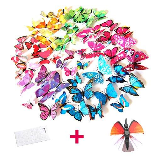 3D Schmetterling Wand Aufkleber Abziehbilder, 72 Teile bunte Magnete Schmetterlinge mit Dot Kleber für Home, Raum, DIY Kühlschrank, Fenster, Oberfläche DIY - gemischt blau lila grün gelb pink rot (Gelbes Schmetterlings-wand-aufkleber)