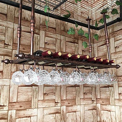 Weinregale Metall Deckenmontage Hängende Glas & Flaschenhalter Organizer Rack Bar Industrial Style...