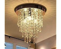 Ganeed Mini Crystal Chandelier,Modern Crystal Flush Mount Ceiling Light Lamp,3 Lights Chandelier Lighting Fixture for Aisle,H