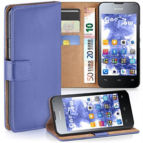moex Huawei Ascend Y300 | Hülle Hell-Blau mit Karten-Fach 360° Book Klapp-Hülle Handytasche Kunst-Leder Handyhülle für Huawei Y300 Case Flip Cover Schutzhülle Tasche