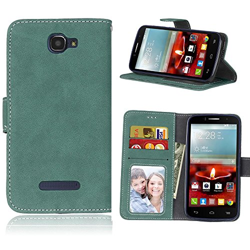 Alcatel One Touch Fierce 2 7040tHülle, Cozy hut TPU Silikon Hybrid Handy Hülle Matte Series Case Durchsichtig Stoßfest Tasche Schutz Scratch-Resistant protection Case Tasche Schutzhülle Cover Handyhülle Etui Shell für Alcatel One Touch Fierce 2 7040tSchutzhülle Folio Magnetverschluss Flip Case Wallet Taljereep Fall Handyhülle mit Kartenfach und Standfunktion - Grüne bereift