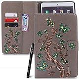 Slynmax Schmetterling Grau Tasche Flip Case Schutzhülle für iPad Mini 2/iPad Mini 3/iPad Mini Tablet PCs Hülle Wallet Case Blume Slim Brieftasche Lederhülle Ledertasche Handyhülle Klapphülle