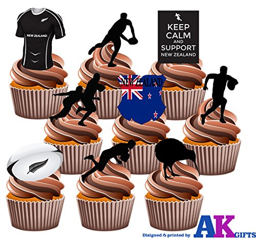 Neuseeland All Blacks Rugby Party Pack – essbar Stand-up Cupcake Topper (36 Stück) (Pack Rugby)
