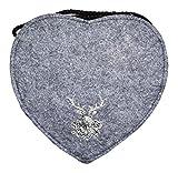 Herz Trachtentasche mit Hirsch Hellgrau