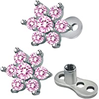 Kawn® 2X Dermal Anchor Top & Base Stainless Steel Body Piercing Jewelry Light Pink