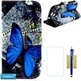 Galaxy S3 Hülle @Caseland [ Blauer Schmetterling] Hochwertigem PU Leder Flip Brieftasche Stehen Steckplatz für Kreditkarten Magnetische Frontklappe Schutzhülle Handy Hülle für Galaxy S3 I9300