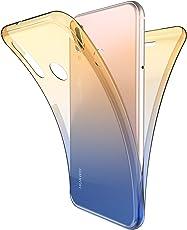 Huawei P20 Lite Hülle,Huawei P20 Lite Silikon Hülle,ikasus Huawei P20 Lite TPU Hülle [Full-Body 360 Coverage Protective],Gradient Color Farbverlauf TPU Silikon Hülle Schutz Handy Hülle Case Tasche Etui Bumper Crystal Case Hülle für Huawei P20 Lite Front + Back Rundum Double Beidseitiger Schutz Cover Silikon Stoßdämpfend Transparent TPU Silikon Schutz Schutzhülle Handyhülle Schale Etui Protective Case Cover - GelbBlau