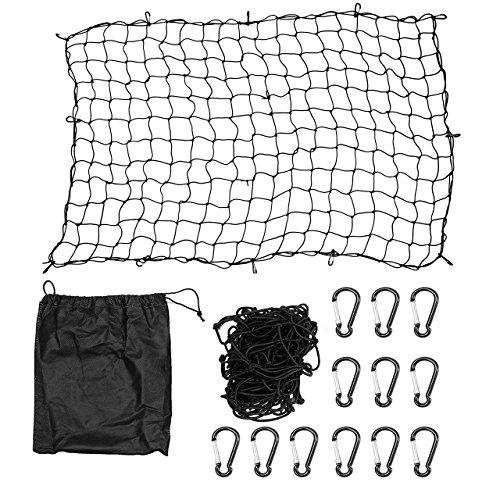 DEDC Auto Gepäcknetz, Universal Kofferraumnetz Schutznetz Elastisch Kofferraum Aufbewahrung Netz aus Nylon 90x40cm für meisten Fahrzeugtypen mit Aufbewahrungstasche (120x180cm)