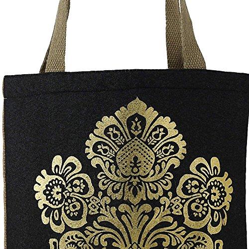 Swayam Shimmer Naturfaser Jute-Einkaufstasche mit Goldfolie Grafik mit gestepptem gepolstertes Innenfutter Multi-35