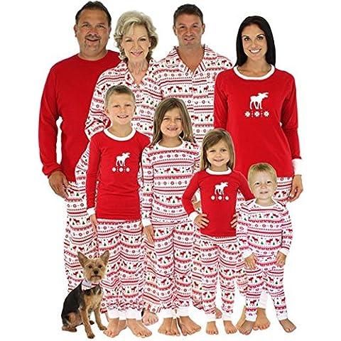 Natale Bambini Mamma Padre Due pezzi Impostato rosso alce Christmas Famiglia Pajama Biancheria da notte