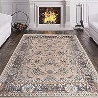 Alfombra Oriental Persa Diseño Clásico BORDURA HOJAS Y FLORES Beige Claro Tamaño S-XXXL (160 x 220 cm)