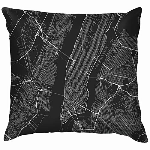 ts New York Map Transportation Cotton Linen Home Decorative Throw Pillow Case Cushion Cover for Sofa Couch 18X18 Inch ()
