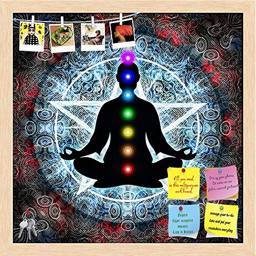Artzfolio In Meditation With Chakras Printed Bulletin Board Notice Pin Board | Natural Brown Frame 24 X 24Inch