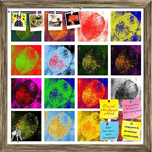 Artzfolio Fingerprint Printed Bulletin Board Notice Pin Board | Antique Golden Frame 20 X 20Inch -