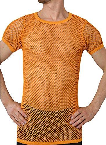 Crystal Herren 100% Baumwolle String Mesh Fischnetz Rasta T-Shirt (X-Large 48, Orange)