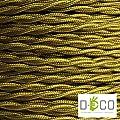 Elektrischen Draht geflochten beschichteten farbigem Stoff. Made in Italy! 5 Meter 3x0, 75 Farbe: Gold