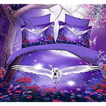 3d wei einhorn lila haut print bettw sche set 100 baumwolle king size 3d bettw sche set 4. Black Bedroom Furniture Sets. Home Design Ideas