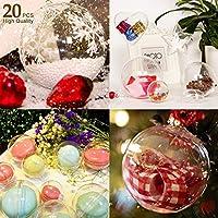 AGM 20Pcs Bolas de Navidad, Bola de Navidad Personalizada Transparente, Bola Colgante Navidad DIY para Decoración de Boda, Fiesta Festival,Bola, Navidad [Diámetro: 8 cm] (20 Piezas)