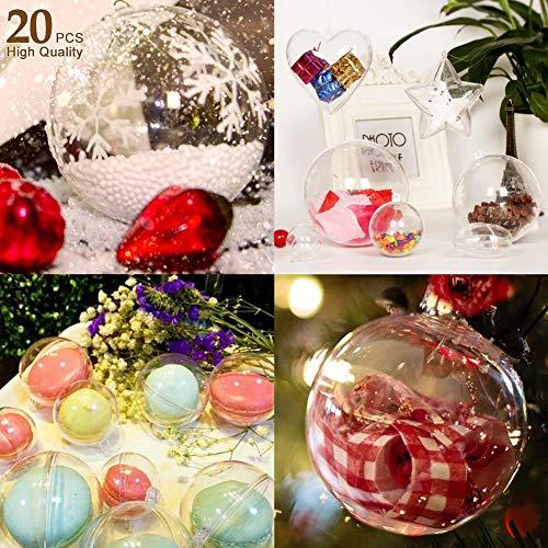 AGM Pallina Trasparente da riempire, Set di 20 Palline di Natale Trasparenti in plastica, per Matrimonio, Battesimo, Diametro: 8 cm (20 Pezzi)