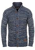!Solid Mahir Herren Strickjacke Cardigan Grobstrick mit Stehkragen aus 100% Baumwolle Meliert, Größe:L, Farbe:Insignia Blue (1991)