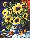 GMMH Diamond Painting Set Bild 30 x 40 Diamant Malerei Stickerei Handarbeit Basteln Mosaik Steine Blumen Korb Sonnenblumen