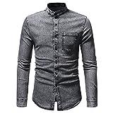Camicia Nera uomoBeikoard Camicetta Top in T-Shirt a Maniche Lunghe in Denim Solido Vintage Effetto Invecchiato Autunno Inverno da Uomo(Gray,M)