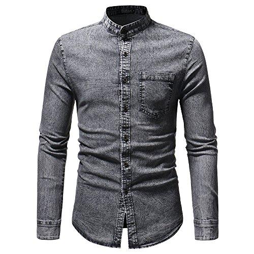 Camicetta uomobeikoard camicetta top in t-shirt a maniche lunghe in denim solido vintage effetto invecchiato autunno inverno da uomo(gray,l)