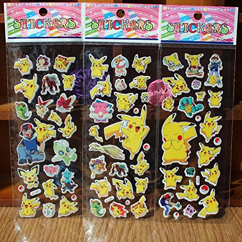 BY channeltoys-Lot de 3Sticker/Aufkleber zufällig Pokemon-Pikachu tortank bulbizarre Sacha salameche-Deko Aufkleber Notizbuch Haus Wand-NEU