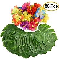"""Kuuqa 88 piezas 20cm / 8 """"hojas de palmera tropical y decoración de fiesta de flores de hibisco de seda, planta artificial Monstera hojas de flores fiesta Hawaiian Luau fiesta de la selva de la selva BBQ fiesta de cumpleaños decoraciones suministros"""