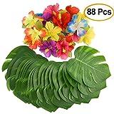 Kuuqa 88 Pcs Tropical Party Decor 8 'Tropical hojas de palma y flores de hibisco de seda, plantas artificiales...