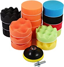 """GOTOTOP 19 PCS 3"""" Sponge Buff Polishing Pad Set for Car Polisher & Waxing Porosity Water Absorb Ability (M10 Drill Adapter)"""