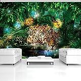 FORWALL Fototapete Tapete Jaguar im bunten Dschungel P4 (254cm. x 184cm.) AMF1333P4