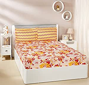 Amazon Brand - Solimo Floral Breeze 144 TC 100% Cotton Double Bedsheet with 2 Pillow Covers, Orange