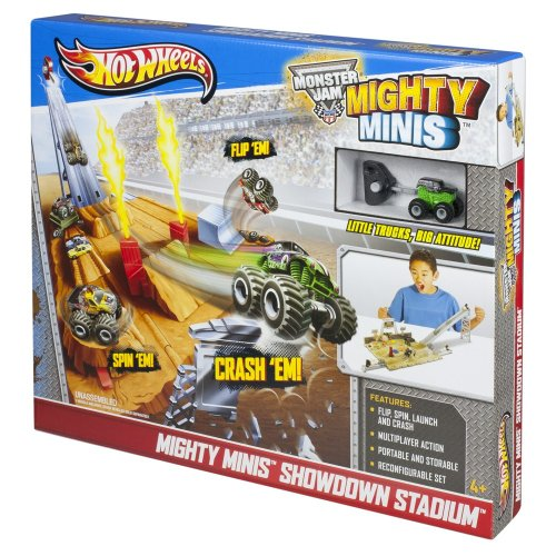 Mattel Hot Wheels Y6749 - Mighty Minis Stuntarena, inklusive 1 Truck (Jam-trucks Mini-monster)