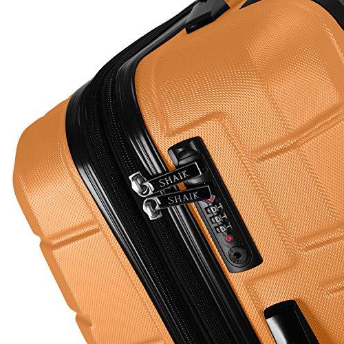 Shaik Serie XANO HKG Design Hartschalen Trolley, Koffer, Reisekoffer, in 3 Größen M/L/XL/Set 50/80/120 Liter, 4 Doppelrollen, TSA Schloss (Großer Koffer XL, Gelb) - 2