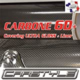 carstyle Carbon 6D + Vinylfolie Series thermoformable Bubble Free grau, nicht 3D 4D 5D