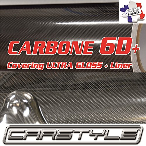 Carbone 6D+ 152cm x20 cm Film Vinyle Covering thermoformable Bubble Free Noir, Pas 3D 4d 5d