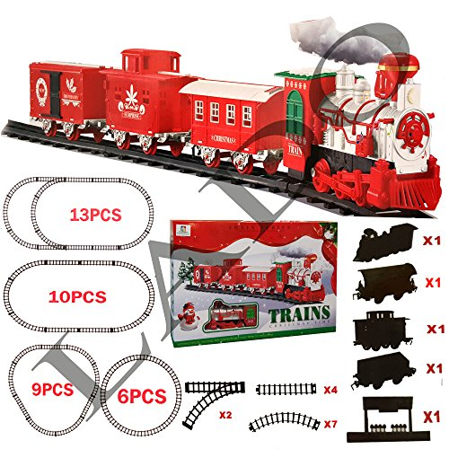 Branded Ex-Large Christmas Holiday Express Festive Train Set (SI-TY1034) Ornaments Toy Light / Sounds / Battery Operated & Smoke (4 Different Tracks) by Lado - Zug-christmas Lights