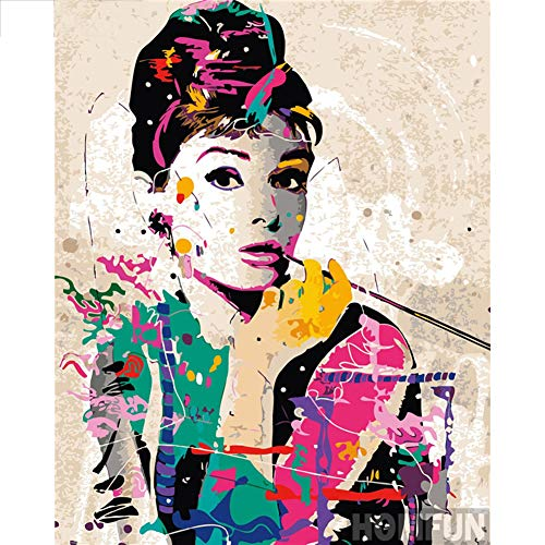 DIY 5D Diamond Painting by Number Kit for Adult,Full Drill Diamond Painting Audrey Hepburn,Embroidery Cross Stitch Arts Craft Home Wall Decoration,11.8×15.7in