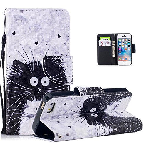 Vectady für iPhone 5S iPhone SE iPhone 5 Hülle, Schutzhülle Hüllen Flip Case Handyhülle Leder Handytasche Magnet Geldbörse Ledertasche für iPhone 5 / iPhone 5S / iPhone SE,Muster Design