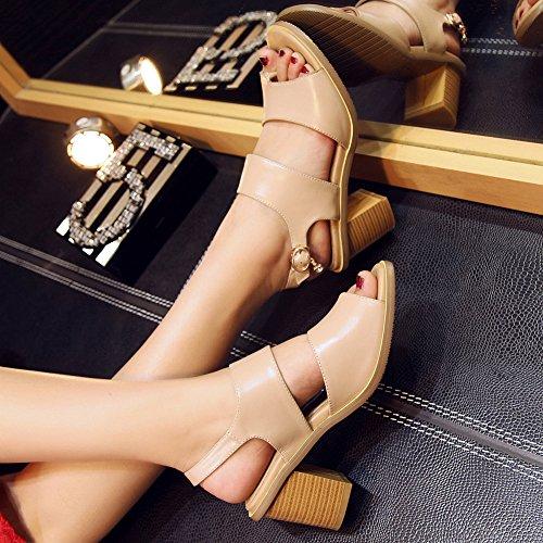 Damen Open Toe Sandalen Toe Strap Blockabsatz Kuhleder Slingback Nude