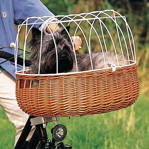 hundeinfo24.de Fahrradkorb mit Drahtaufsatz für die Lenkstange, inkl. Haltevorrichtung, B