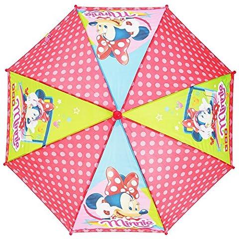 Kinder Mädchen Disney Minnie Maus Regenschirm mit Punktemuster (Einheitsgröße) (Bunt)