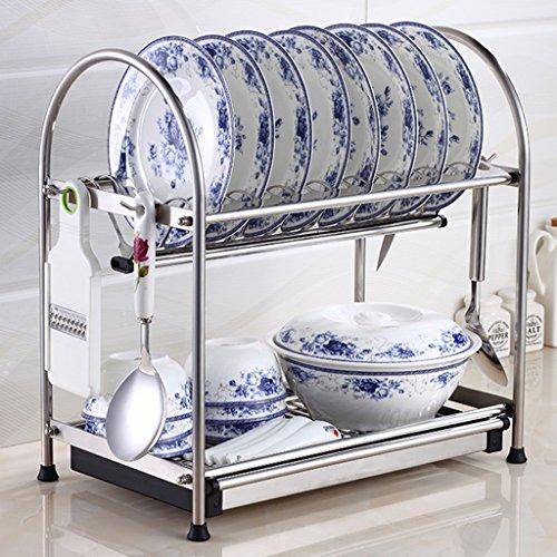 ZCJB Étagère de cuisine Acier Inoxydable Plat Rack Cuisine Drain Plats Rack Cuisine Racks Séchage Vaisselle Rack Stockage Fournitures (Couleur : 2-tier, taille : 45)