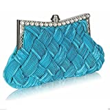 Gorgeous Diamante Woven Bridal Wedding Evening Clutch Purse
