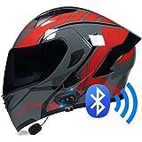 BDTOT Bluetooth Casco Moto Modular Doble con Doble Visera en Integrado de Intercomunicación Sistema de Comuni Adultos Unisex