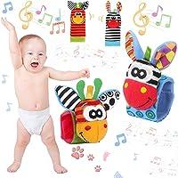 4Pcs Calzini Sonaglio Neonato, Baby Rattle Neonato per Piedi Simpatici Animaletti Developmental Bracciale Polsi di…