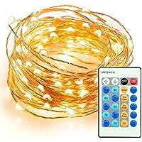 WONFAST Luci Della Stringa 100 LED Impermeabili Stellato Illumina Filo di Rame Con Telecomando Per Pasqua Vacanze di Natale (33 ft, Warm White)