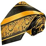 Paul Malone Gold schwarz gestreifte Designer Krawatte 100% Seidenkrawatte